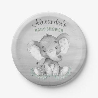 Baby shower d'éléphant d'aquarelle assiettes en papier
