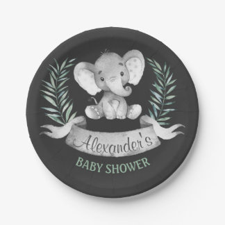 Baby shower d'éléphant d'aquarelle de tableau assiettes en papier