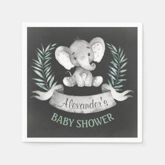Baby shower d'éléphant d'aquarelle de tableau serviette jetable