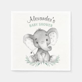 Baby shower d'éléphant d'aquarelle serviette en papier