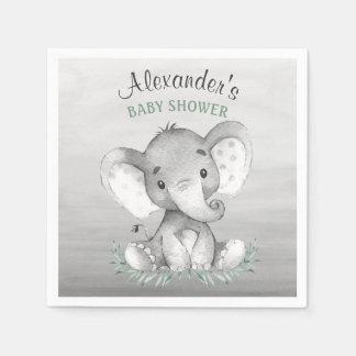 Baby shower d'éléphant d'aquarelle serviettes en papier