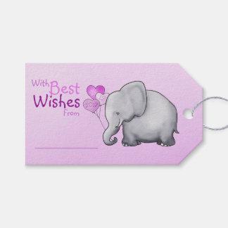Baby shower d'éléphant rose avec meilleurs voeux étiquettes-cadeau