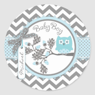 Baby shower d'impression de Chevron de hibou de Sticker Rond