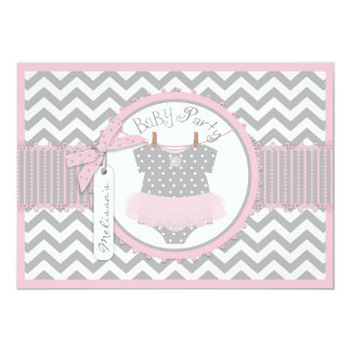 Baby shower d'impression de Chevron de tutu de Carton D'invitation 12,7 Cm X 17,78 Cm
