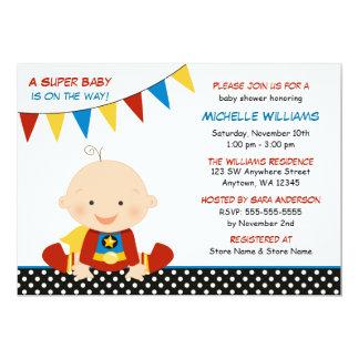 Baby shower donnant un petit coup de super héros carton d'invitation  12,7 cm x 17,78 cm