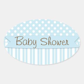 Baby shower doux bleu de point de polka de garçon sticker ovale