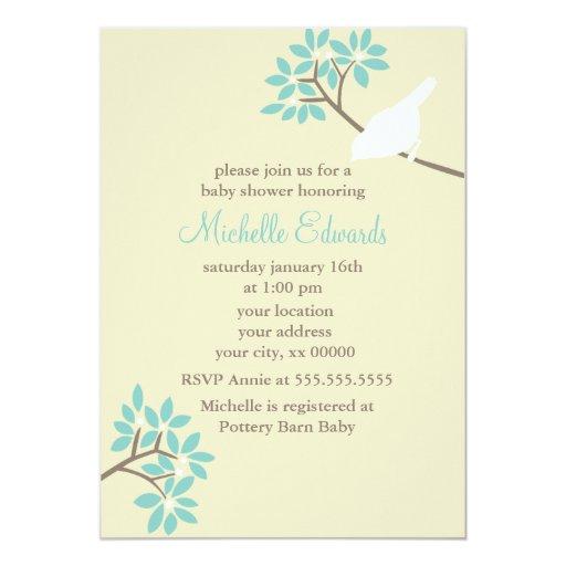 Baby shower élégant d'oiseaux carton d'invitation  12,7 cm x 17,78 cm