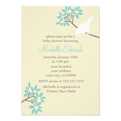 Baby shower élégant d'oiseaux invitations
