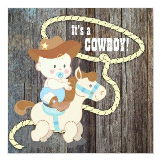 Baby shower en bois de cowboy de grange bleue carton d'invitation  13,33 cm