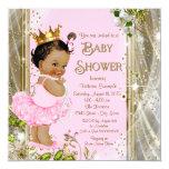 Baby shower ethnique de princesse Tutu Pink Gold Carton D'invitation 13,33 Cm