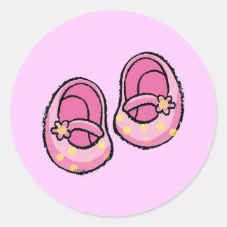 Baby shower (fille) sticker rond