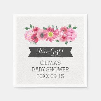 Baby shower floral d'aquarelle vintage rose serviette jetable