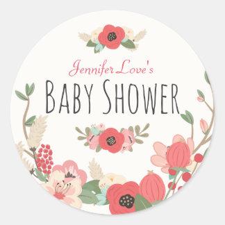 Baby shower floral de jardin sticker rond