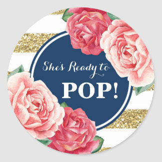 Baby shower floral de rose d'or de marine prêt à sticker rond