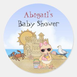 Baby shower frais personnalisé de bébé de plage sticker rond
