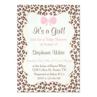 Baby Shower girl pink leopard Carton D'invitation 12,7 Cm X 17,78 Cm