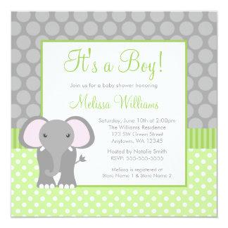 Baby shower gris vert de garçon de point de polka carton d'invitation  13,33 cm