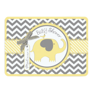 Baby shower jaune d'impression de Chevron Carton D'invitation 12,7 Cm X 17,78 Cm