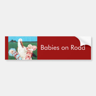 BABY SHOWER JUMEAU de CIGOGNE, rose, bleu turquois Autocollant De Voiture