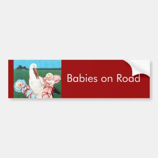 BABY SHOWER JUMEAU de CIGOGNE, rose, bleu turquois Autocollant Pour Voiture