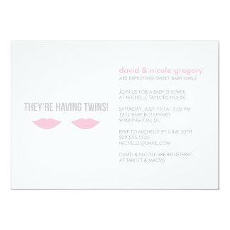 Baby shower jumeau de filles carton d'invitation  12,7 cm x 17,78 cm
