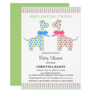 Baby shower jumeau de girafe de garçon et de fille carton d'invitation  12,7 cm x 17,78 cm