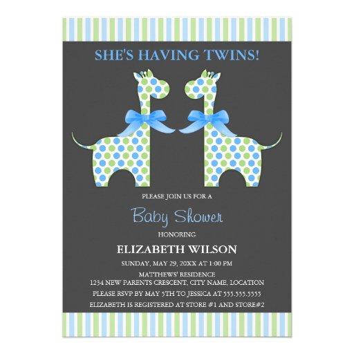 Baby shower jumeau de girafe de garçon invitation