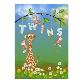 Baby shower jumeau de jungle carton d'invitation  12,7 cm x 17,78 cm