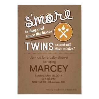 Baby shower jumeau de S'more Carton D'invitation 12,7 Cm X 17,78 Cm