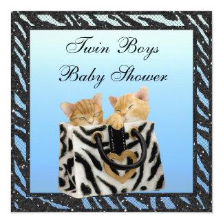 Baby shower jumeau d'impression de zèbre de carton d'invitation  13,33 cm