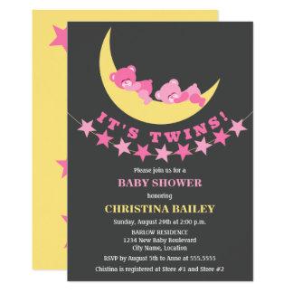 Baby shower jumeau d'ours de nounours de filles carton d'invitation  12,7 cm x 17,78 cm
