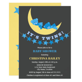 Baby shower jumeau d'ours de nounours de garçons carton d'invitation  12,7 cm x 17,78 cm