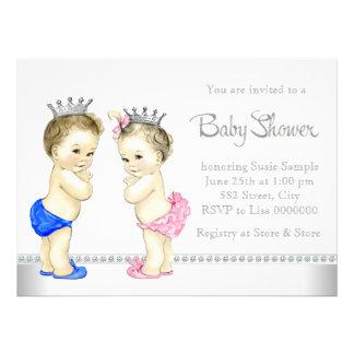 Baby shower jumeau rose et bleu élégant faire-parts