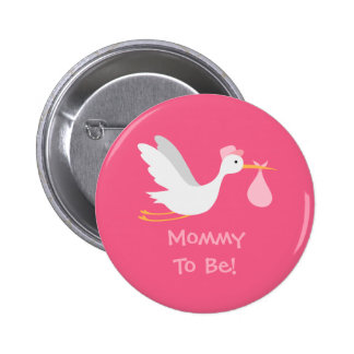 Baby shower lunatique de cigogne de fille badge