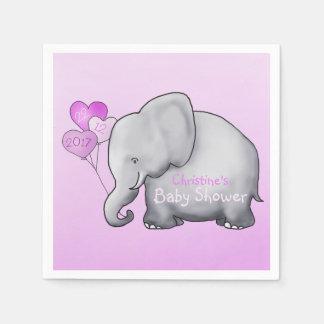 Baby shower magnifique de fille de rose d'éléphant serviette en papier