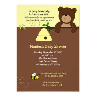 Baby shower mignon 4x6 d'ours de Brown et d'abeill Invitations Personnalisées