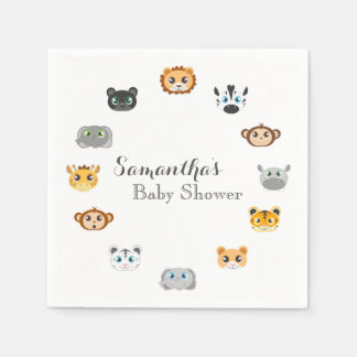 Baby shower mignon de jungle de safari serviettes jetables