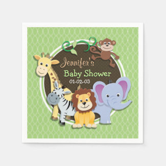Baby shower mignon de jungle ; Ovales vert clair Serviette En Papier