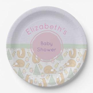 Baby shower mignon de motif de créatures de région assiettes en papier