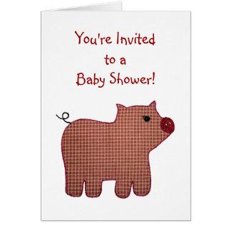 Baby shower mignon de porc de plaid de rose de cartes de vœux