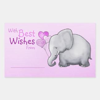 Baby shower mignon d'éléphant avec meilleurs voeux sticker rectangulaire