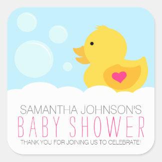 Baby shower mignon en caoutchouc de fille de bain sticker carré