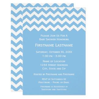 Baby shower moderne avec les chevrons bleus et carton d'invitation  12,7 cm x 17,78 cm