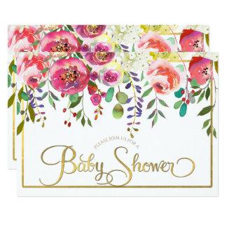 Baby shower moderne de fleurs florales d'aquarelle carton d'invitation  12,7 cm x 17,78 cm