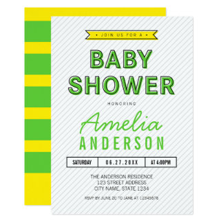 Baby shower moderne vert et jaune d'amusement carton d'invitation  12,7 cm x 17,78 cm