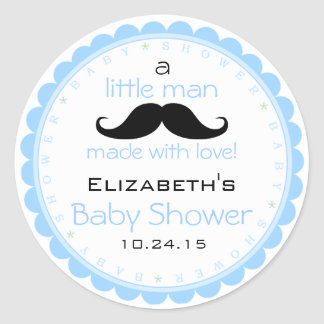 Baby shower Moustache-Bleu Sticker Rond