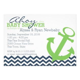 Baby shower nautique d ancre de zigzag faire-part personnalisé
