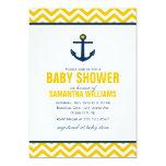 Baby shower nautique d'ancre et de chevrons faire-parts