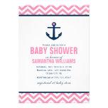 Baby shower nautique d'ancre et de chevrons {rose} invitation personnalisable