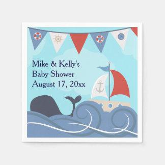Baby shower nautique de baleine d'océan de plage serviette en papier